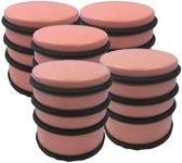 5x Lichtroze rond deurstoppers met rubberen bescherming - 7 x 7.5 cm - 1 kg - roze deurstop