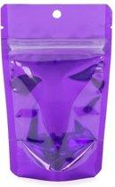 Stazakken Transparant/Violet 7,9x5,1x13cm | 28 gram (100 stuks)