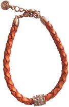 Gevlochten lederen armband met zilverkleurige hanger Lengte:18-23 cm