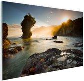 Zonsopgang strand Nieuw-Zeeland Glas 90x60 cm - Foto print op Glas (Plexiglas wanddecoratie)