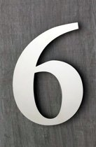 Huisnummers RVS. Hoogte 15 cm. Glans. Huisnummer 6. 5 jaar garantie.