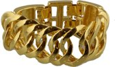 Zware schakelarmband goudkleurig 21 cm. De armband is verstelbaar in lengte.