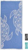 ZusenZomer lange hamamdoek xl TURTLE 100x200 lichtgewicht strandlaken - blauw