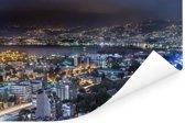 Avondfoto van Beiroet in Libanon Poster 180x120 cm - Foto print op Poster (wanddecoratie woonkamer / slaapkamer) XXL / Groot formaat!
