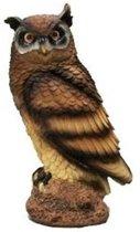Dierenbeeld bruine oehoe uil 25 cm