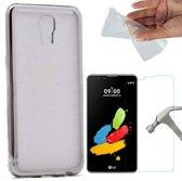 Teleplus LG X Screen Laser Cut Silicone Case Silver + Glass Screen Protector hoesje
