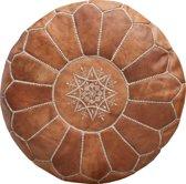 Leren poef rond - Cognac bruin - Marokkaanse handgemaakt - Ottoman - Natural Tan 53 cm