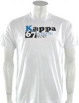 Kappa - Tee Athletic  - Wit - Heren - maat  L