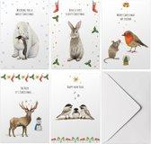 Set van 5 vrolijke kerstkaarten met envelop - winterdieren in aquarel met persoonlijke kerstgroet en nieuwjaarswens - dubbele kaart met vouw - pinguïn ijsbeer konijn muisje roodborstje hert vogels -  A6 formaat