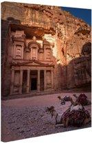 Historische stad Petra in Jordanië Canvas 20x30 cm - Foto print op Canvas schilderij (Wanddecoratie)