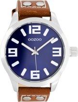 OOZOO Timepieces C1065 - Horloge - Leer - Brown/Blue - Ø 46 mm