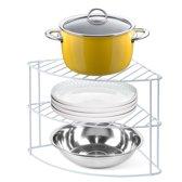 3-Laags Hoekbordenrek - Keukenkast Organizer Hoekrek Voor Borden & Mokken - Keuken Kast Opbergrek - Metaal - Bordenrek
