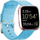 KELERINO. Denim bandje voor Fitbit Versa (Lite) - Blauw