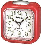 Casio wekker TQ-142-4DF rood met lichtgevende wijzers