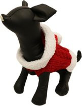 Gebreide kerst trui rood met wit voor de hond - XL ( rug lengte 37 cm, borst omvang 40 cm, nek omvang 42 cm )