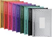 50 x Metallic luchtkussen enveloppen B/00 - 210x120mm - 5 x 10 stuks diverse kleuren - zelfklevende strip - Office Depot / Viking