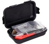 Combat survival kit waterproof - zwart - 15-delig - survivalbenodigdheden