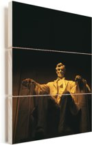 Prachtig verlicht Lincoln Memorial in de avond Vurenhout met planken 20x30 cm - klein - Foto print op Hout (Wanddecoratie)