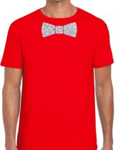 Rood fun t-shirt met vlinderdas in glitter zilver heren - shirt met strikje XL