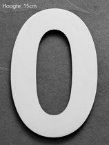 Xaptovi Huisnummer 0 Materiaal: RVS - Hoogte: 15cm - Kleur: RVS
