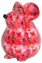 Spaarpot muis 17 cm roze met vlinders - Dieren spaarpotten