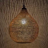 Nour Lifestyle Arabische hanglamp Uma goudkleurig met gaatjes - maat M