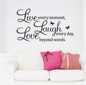 Muursticker tekst 'live laugh love' 50x70