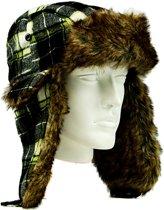 Luxe Bontmuts Lumberjack Green- Unisex Imitatie Bont Wintermuts Sneeuwmuts met Oorflappen - Imitatiebont Namaakbont Kunstbont Siberische Piloten Muts