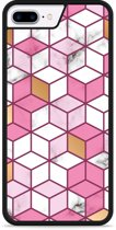 iPhone 7 Plus Hardcase hoesje Pink-gold-white Marble
