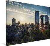 Zonsopkomst boven Santiago in Chili Canvas 180x120 cm - Foto print op Canvas schilderij (Wanddecoratie woonkamer / slaapkamer) XXL / Groot formaat!
