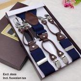 Sorprese – Luxe chique – heren bretels – 6 extra stevige clips – blauw effen design - bruin leer – bretels