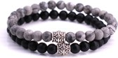 FortunaBeads Mat Basic Set Zwart Onyx x Netstone Armbanden – Heren – Natuursteen – Medium 18cm
