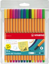 STABILO Point 88 Fineliner - Etui 10 stuks + 5 Neon