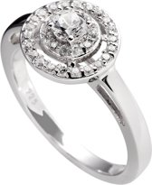 Diamonfire zilveren ring met steen - Maat 18 - Zirkonia - Rond