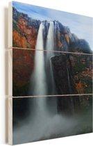 's Werelds hoogste waterval in het Nationaal park Canaima in Venezuela Vurenhout met planken 40x60 cm - Foto print op Hout (Wanddecoratie)