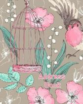 Address Book: Floral Bird Cover Birthday List & Holiday Cards List with an Alphabetical Index Name Address Cell Phone Email
