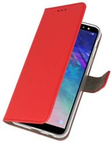 Rood Bookstyle Wallet Cases Hoesje voor Samsung Galaxy A6 (2018)