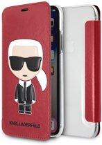Karl Lagerfeld boekmodel voor iPhone X/Xs - Rood