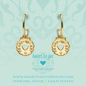 Heart to Get 925 Sterling Zilveren Goudkleurige Bohemian Coin Heart Oorbellen  - Goud