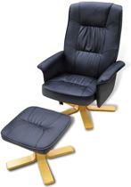 Fauteuil Zwart MET Voetenbankje Kunstleer / Loungestoel / Lounge stoel / Relax stoel / Chill stoel / Lounge Bankje / Lounge Fauteil