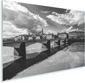 Zwart wit afbeelding van de Ponte Vecchio Plexiglas 30x20 cm - klein - Foto print op Glas (Plexiglas wanddecoratie)