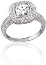 Classics&More - Zilveren Ring Vierkant met zirkonia