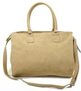 Double-Dutch -Trendy  -Hand & Schoudertas -Beige Fashion Tas