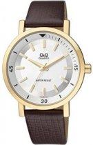 Q&Q Heren horloge met bruin leren band-Q892J101Y