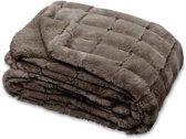 Unique Living - Xavi - Fleece plaid - 130x160 cm - Taupe