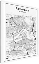 Stadskaart klein - Rotterdam canvas 30x40 cm - Plattegrond
