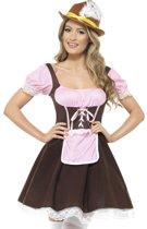 Tiroler jurkje roze bruin - Oktoberfest kleding dames maat 44/46