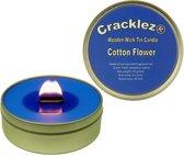 Cracklez® Knetterende Houten Lont Geurkaars in blik Katoen Bloem. Blauw.