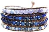 Bela Donaco Wikkel armband Blue Jeans - Lapis Lazuli, Sodaliet facet en blauwe Kwarts