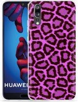 Huawei P20 Hoesje Luipaard Paars Zwart